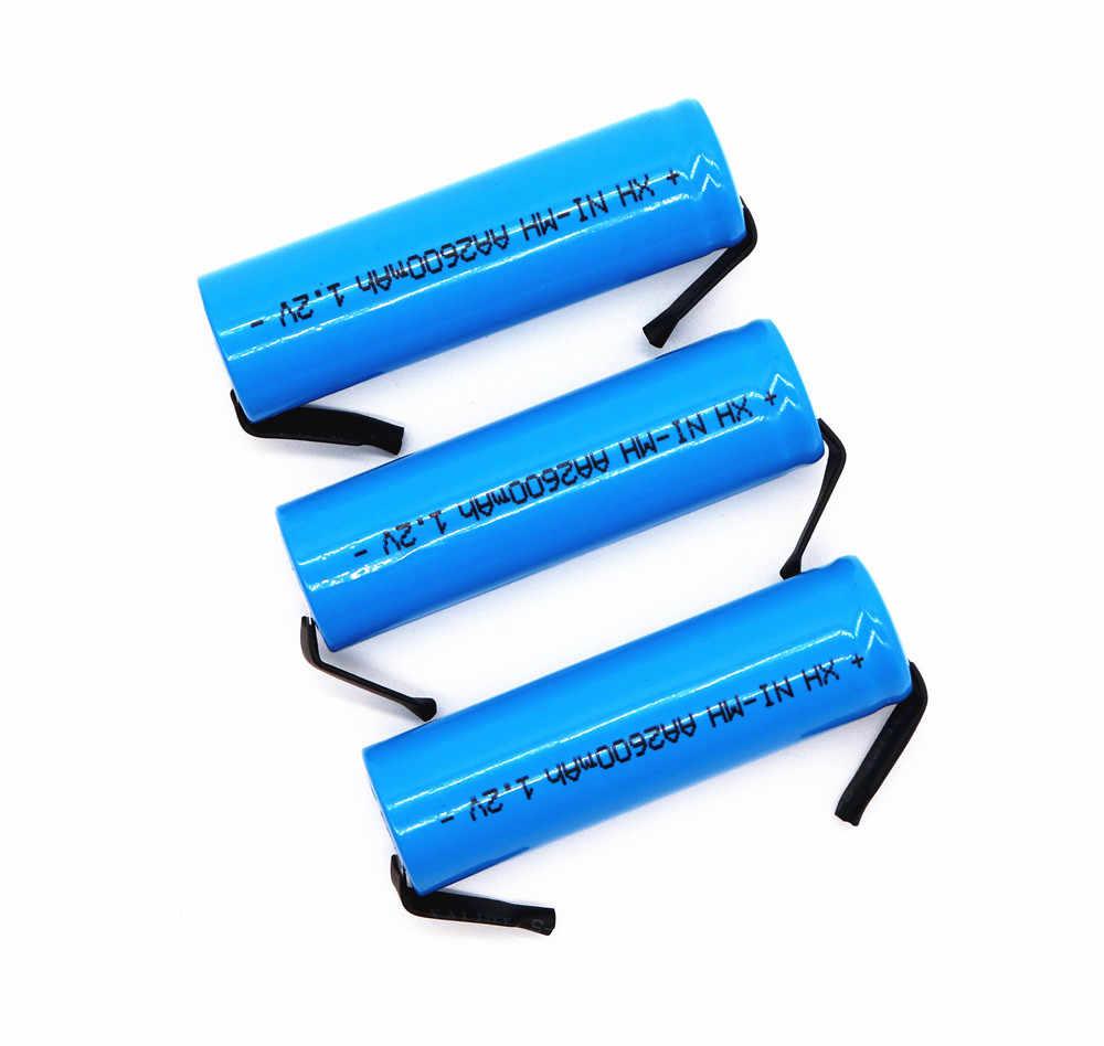 1,2 v original AA Akku 1,2 V 2600mah AA NiMH Batterie mit Solder Pins DIY Elektrische Rasierer zahnbürste zu