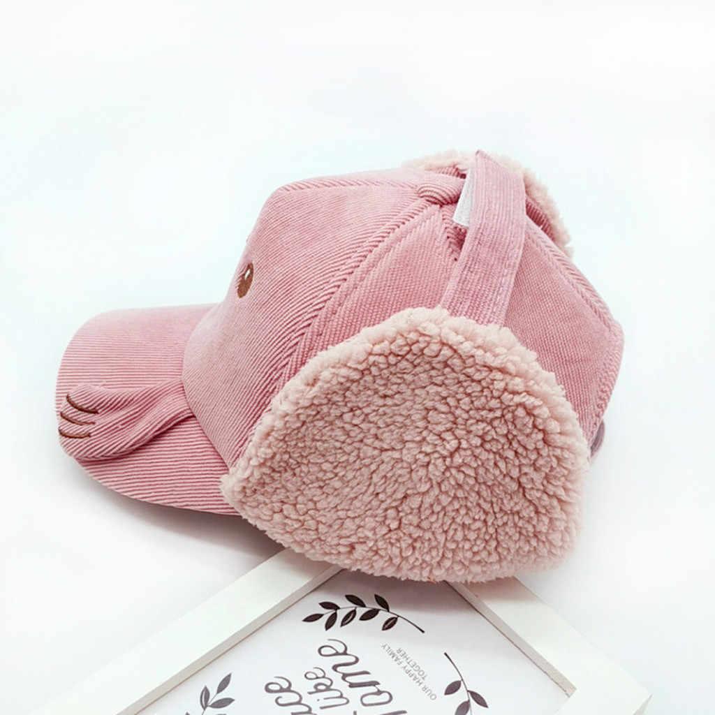 การ์ตูนเด็กทารกอ่างล้างหน้า Earflag แฟชั่นฤดูหนาวขนแกะ Peaked หมวกเด็กหมวกเบสบอลหมวกเด็กผู้หญิง Windproof หมวก Sunhat