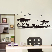 safari animal wall stickers for kids rooms elephant giraffe flying birds tree decor decal mural living room decorations