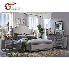 Серый цвет королевская кровать дизайн деревянный прикроватный столик и комод WA401