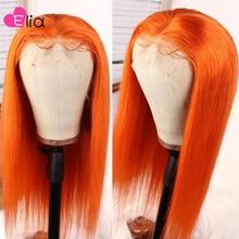 Elia colorido laço frontal peruca roxo rosa amarelo laranja cinza colorido perucas para preto feminino cabelo reto brasileiro parte profunda
