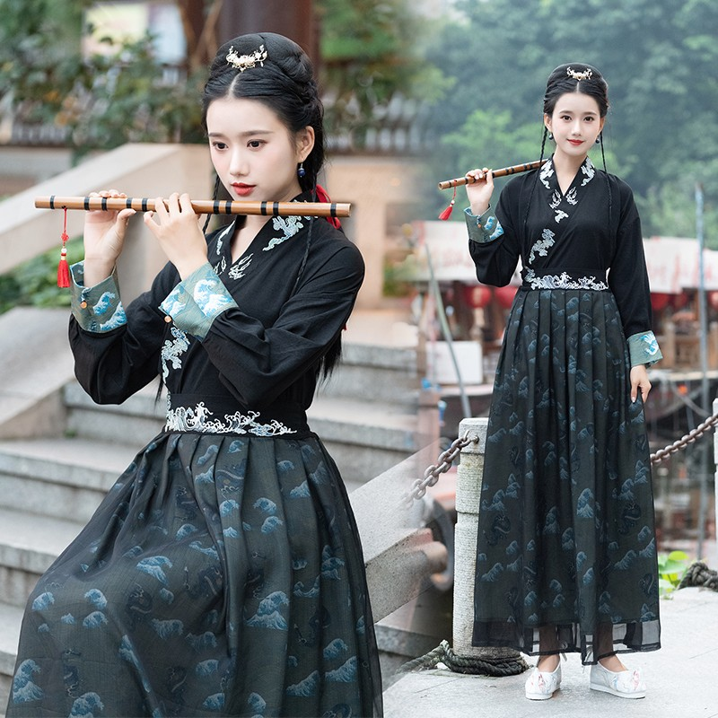 Autumn Chinese Style Female Daily Improvement Retro Embroidered Long Sleeve Black Hanfu Tang Dynasty Classical Dancewear DQL2612