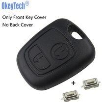 Okeytech substituição frente caso chave do carro capa com 2 switches para p eugeot 107 206 207 306 307 407 sem lâmina frete grátis