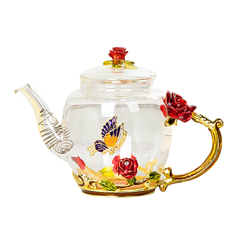 Red rose Enamel Crystal Flower Glass Teapot for Hot and Cold Drinks Home Drinkware Office water kettle Tea set coffee pot