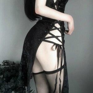 Image 5 - Cheongsam Retro para mujer, traje de Cosplay de entretejido abierto, lencería Sexy de Anime, atuendo de encaje, uniforme para delgados