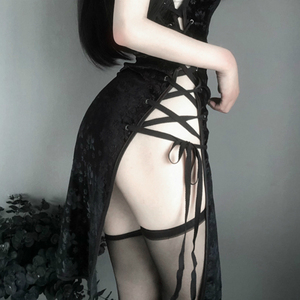 Image 5 - רטרו Cheongsam כותנות לילה אישה גבוהה פתוח מזלג קוספליי תחפושת ארוטית אנימה סקסי הלבשה תחתונה שמלת תחרה תלבושת פנסי Slim אחיד