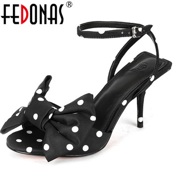 FEDONAS Fashion Sweet Peep Toe Women Sandals High Heels Pumps 2020 Spring Summer New Genuine Leather Butterfly Knot Shoes Woman