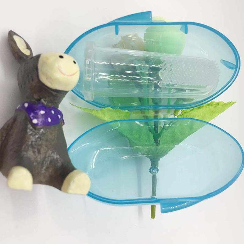 Dedo Escova de Dentes Do Bebê Do Silicone com Caixa criança Dentes escova de Dentes Clear Rubber boy menina Massageador Escova de Limpeza Escova de Dente Infantil recém-nascidos