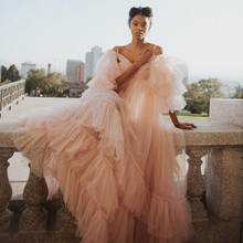 Prom-Dresses Long-Robe Tulle Ruffles Plus-Size Puff A-Line Pretty Tiered Pink Full-Sleeves
