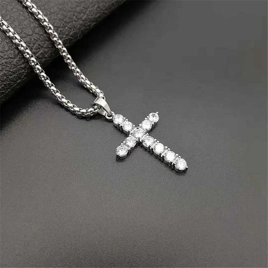 Iced Out cyrkon mały krzyż naszyjnik łańcuch damski Hip Hop biżuteria stal nierdzewna cz Bling krzyż wisiorek religijny naszyjnik