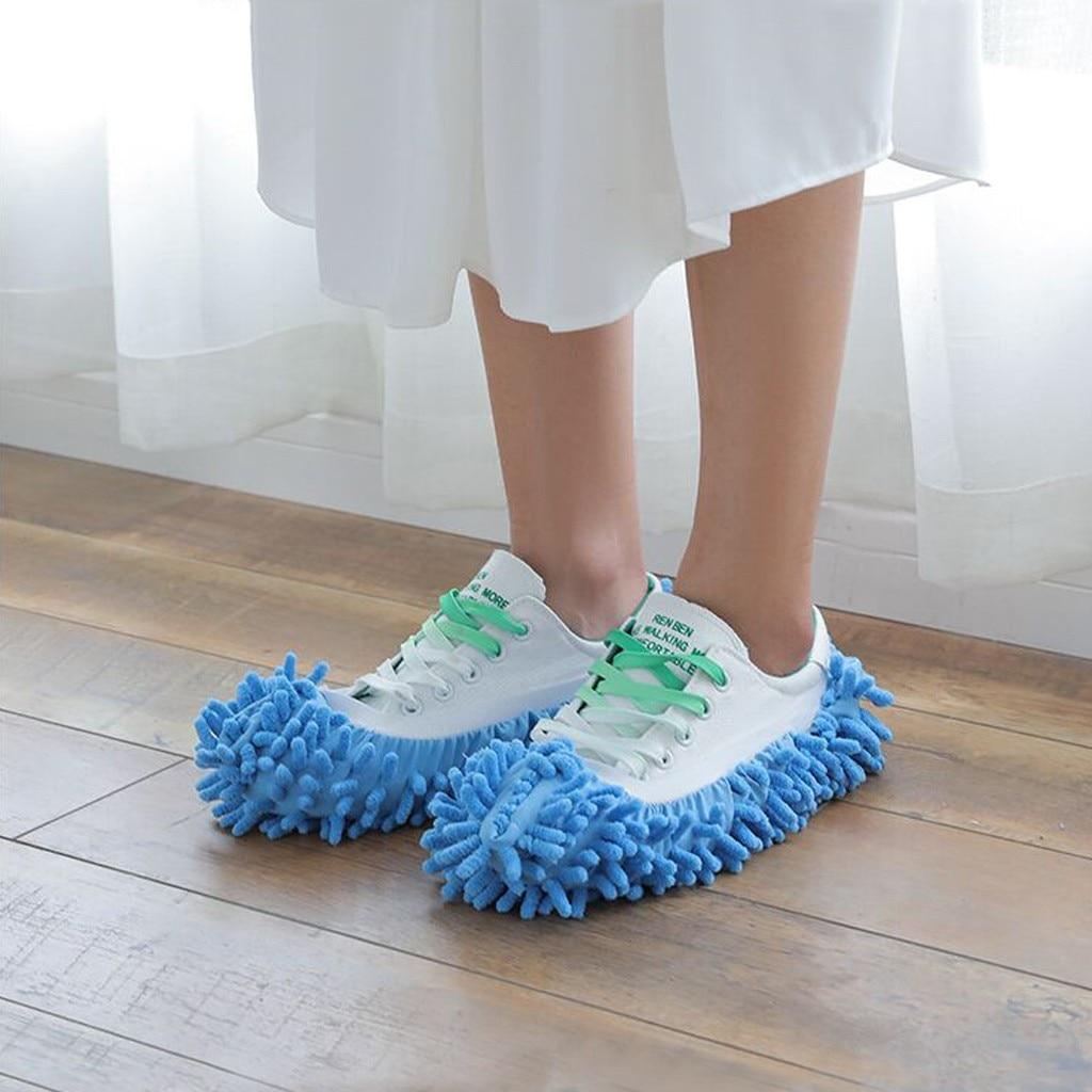 Single Chenille Mop Veeg Slippers Schoenen Lui Schoen Schoon Slippers Mop Caps Set House Bathroom Floor Lazy Vegen Schoner