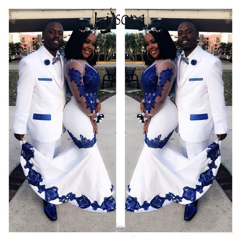 New White Satin Royal Blue Lace Aso Ebi African Prom Dresses Long Illusion Sleeves Appliqued Mermaid Evening Formal Gowns Pageant Celebrity Dress Abendkleider