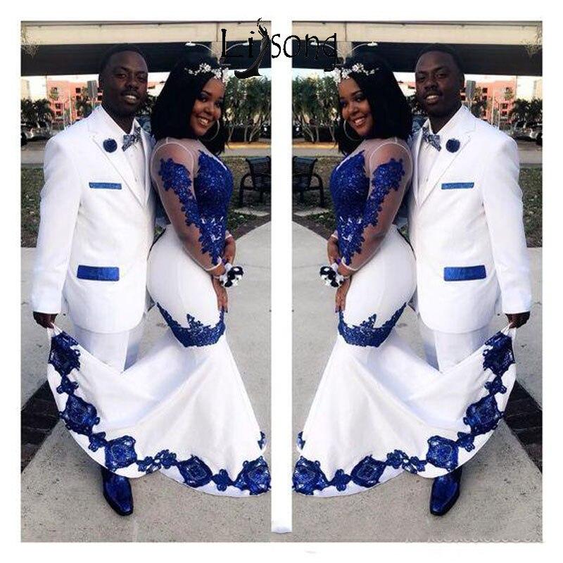 Nouveau Satin blanc bleu Royal dentelle Aso Ebi robes de bal africaines manches longues Illusion appliqué sirène soirée robes formelles Pageant robe de célébrité Abendkleider