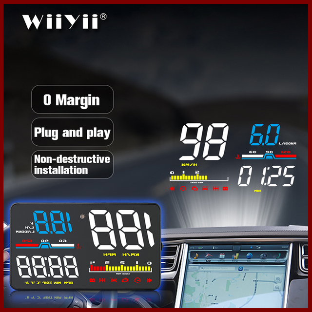 GEYIREN Car HUD D5000 OBD2 Head Up Display Digital Speedometer Windshield Projector Overspeed RPM Water Temperature Alarm