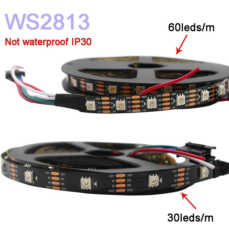 5m/lot WS2813 Led Pixel Strip Light;Dual-signal ;30/60 Pixels/leds/m,WS2812B Updated;DC5V,IP30/IP65/IP67,Black/White PCB