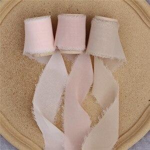 Image 3 - 3 шт. потертая шифоновая шелковая лента с деревянной катушкой 4 см x 5 м свадебные пригласительные букеты ручной работы лента фон для рукоделия флайсы Декор