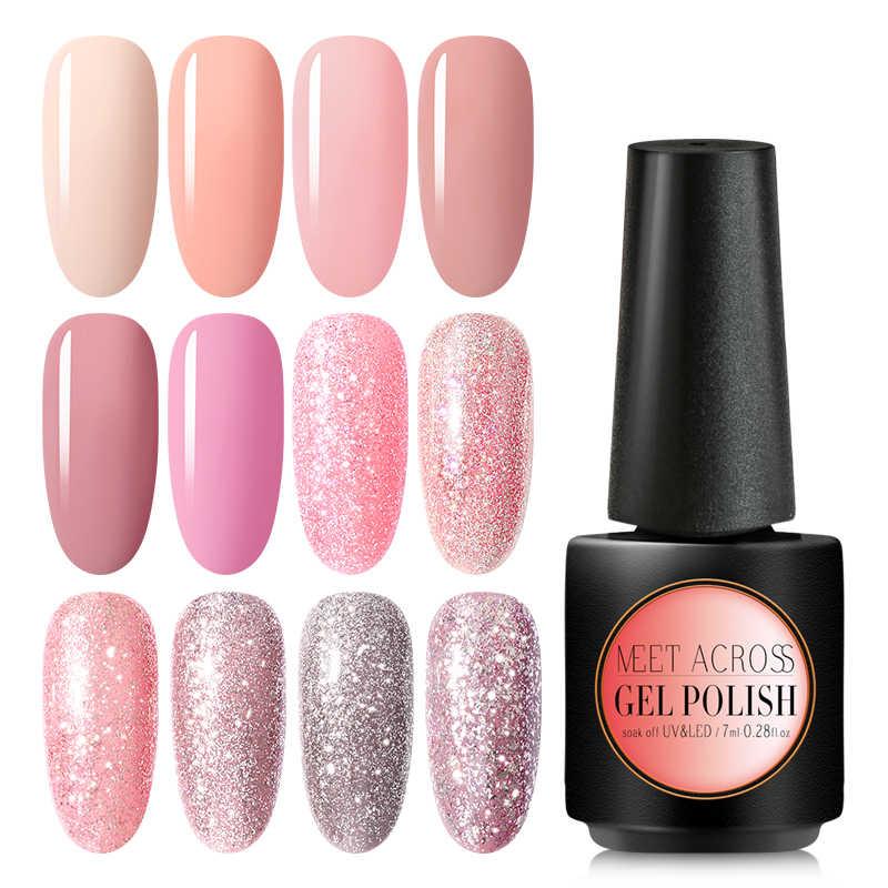 Bertemu Di 7 Ml Telanjang Glitter Gel Cat Kuku Hologram Rose Emas Payet Nail Gel Rendam Off Paku Seni Sinar UV gel Polandia