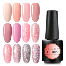 Bertemu Di 7 Ml Telanjang Glitter Gel Cat Kuku Hologram Rose Emas Payet Nail Gel Rendam Off Paku Seni Sinar UV gel Polandia(China)