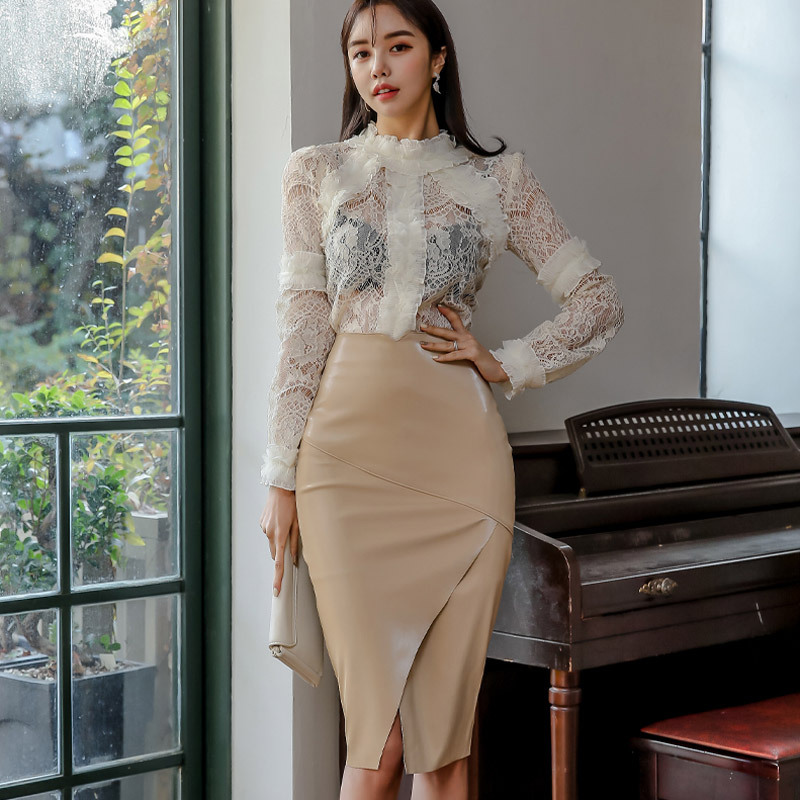 WOMEN'S Dress 2020 Spring Clothing New Products Debutante Elegant Stand Collar Lace Tops Sheath Midi-skirt Two-Piece Set