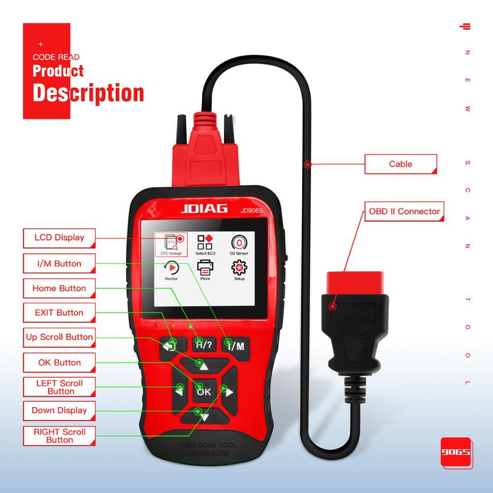 JDiag JD906S Code Reader Neue Generation Auto Diagnose Werkzeuge OBD2 Scan Tool mit I/M Bereitschaft Mode6, modus 8