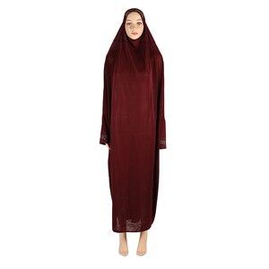 Image 5 - Muslim Women Modest Prayer Long Dress Abaya Full Cover Hijab Overhead Kaftan Jilabb Islamic Bat Sleeve Niqab Jilbab Robe Dubai