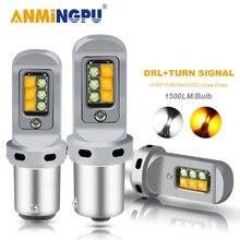 ANMINGPU 2x 신호 램프 1500LM 1156 Led BA15S P21W BAU15S PY21W 전구 1157 Bay15d Led T20 7443 W21/5W 3157 회전 신호 DRL 라이트