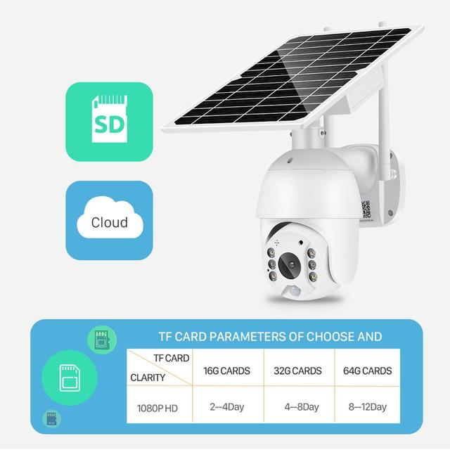 2MP IP Camera Solar Panel PIR Detection 1080P IR Vision With Battery For Long Standby 6