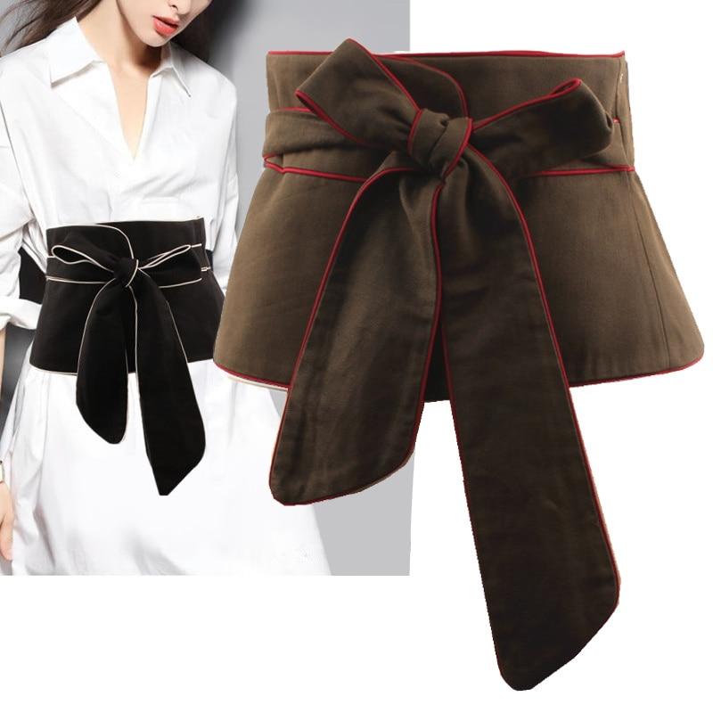 Spring Black White Cummerbunds 2020 New Color Long Bow Bandage Exceed Width Belt Women Fashion Tide All-match Cummerbunds