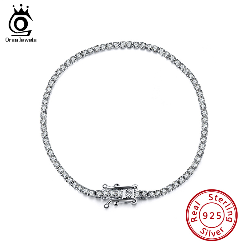 ORSA JEWELS Authentic 925 Sterling Silver Girls Bracelets Pave Clear Cubic Zircon Silver Bangle Dating Party Jewelry Chain SB61