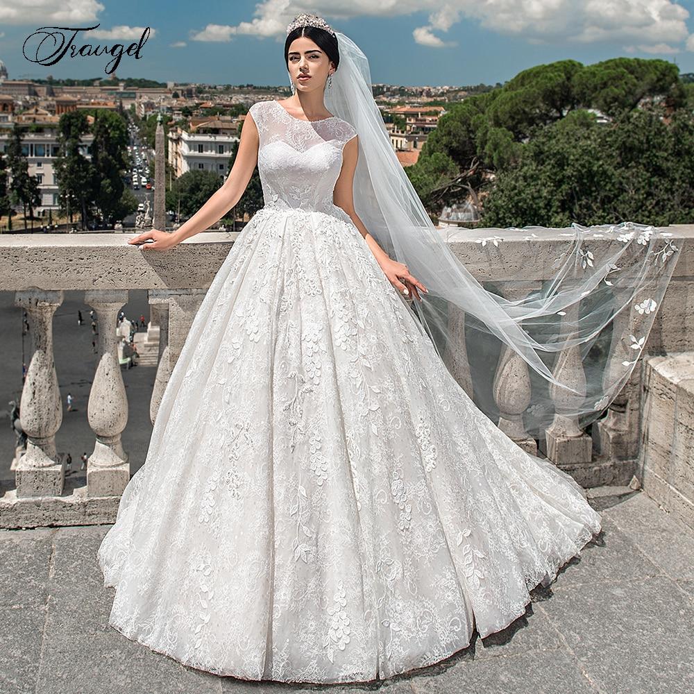 Traugel Scoop A Line Lace Wedding Dresses Appliques Cap Sleeve Backless Lace Up Bride Dress Sweep Train Bridal Gown Plus Size Wedding Dresses Aliexpress