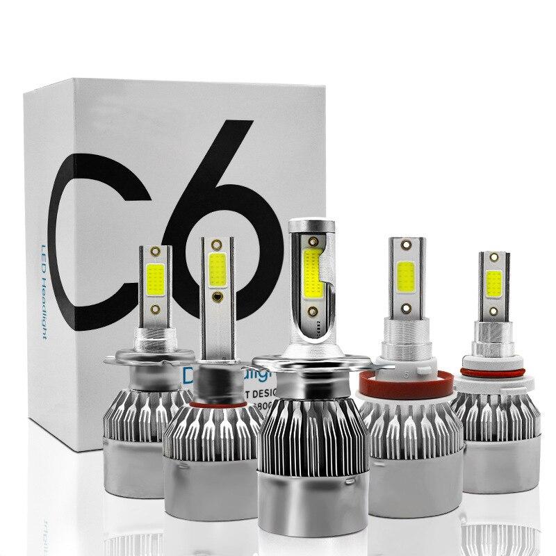 C6 H1 H3 светодиодный лампы для передних фар H7 светодиодный Автомобильные фары H4 880 H11 HB3 9005 HB4 9006 H13 6000K 72W 12V 7200LM авто фары огни автомобиля