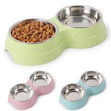 Çift evcil hayvan kaseleri köpek maması su besleyici paslanmaz çelik Pet içme çanak besleyici kedi yavrusu besleme malzemeleri küçük köpek aksesuarları