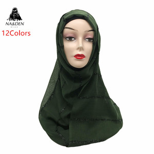 1PCS NEW Solid plain shalws Muslim hijab Viscose Fashion Glitter long muffler Islamic scarf Ladies shimmer wraps Women scarves(China)