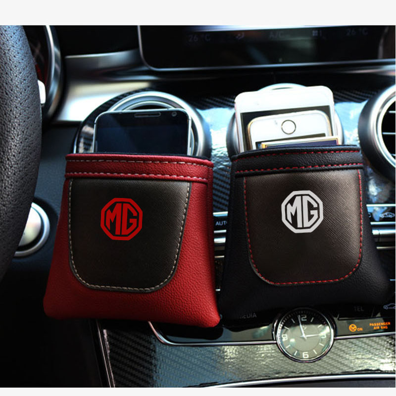 For MG EZS GS Hevtor MG3 MG5 MG6 Zero 1PC Pu Leather Bag Clip on Air Outlet Car Air Vent Stow Tidy Storage Car Phone Holder image