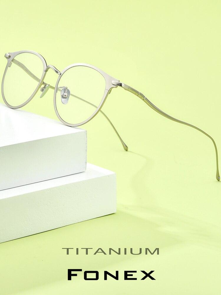 FONEX Frames Eye-Glasses Optical-Eyewear Myopia Round Retro Vintage Women Pure Titanium