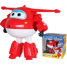 цена на 15cm Large Super Wings Deformation Airplane Robot ABS Action Figures Super Wing Transformation Toys for Children Boy Gift