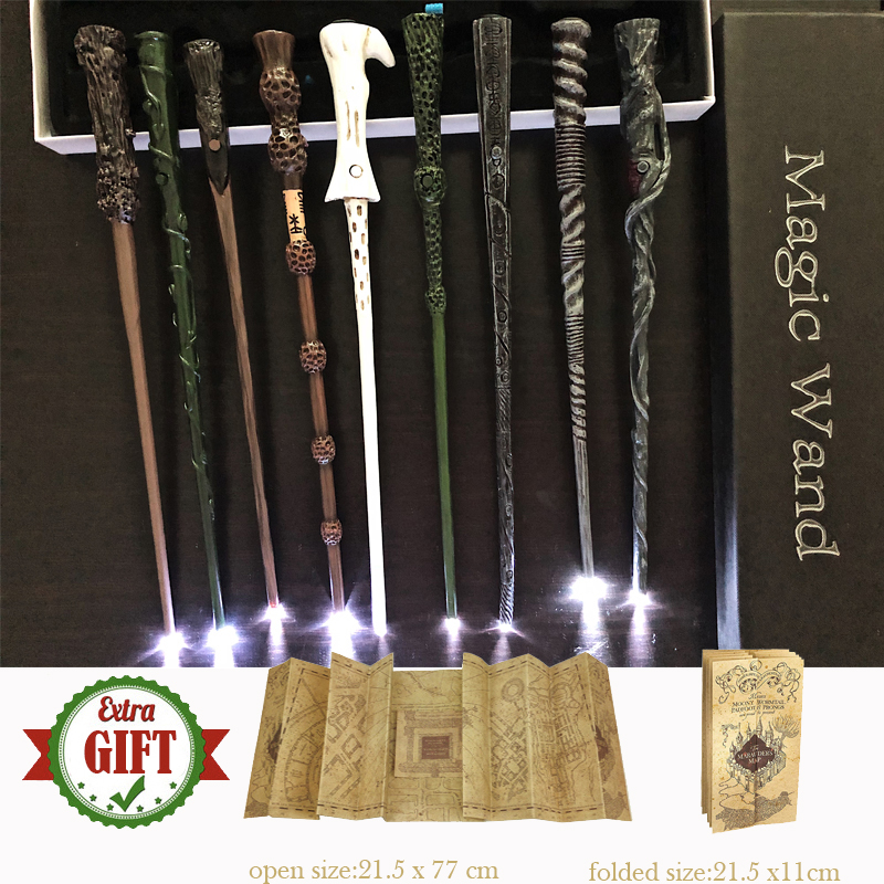 21Kinds Harris Pottered Magic Wands Sirius Hermione Dumbleindsdore Light Magic Wand With Gift Box Packing 1 Marauder's Map Gift
