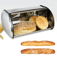 1Pc Large Stainless Steel Bread Box Storage Bin Keeper Food Kitchen Container Bread Holder