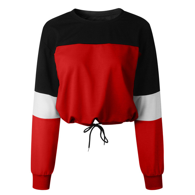 Jaycosin Fashion Womens Long Sleeve Splcing Color Sweatshirt Casual Cool Chic New Look Comfortable Pullover Tops Blouse