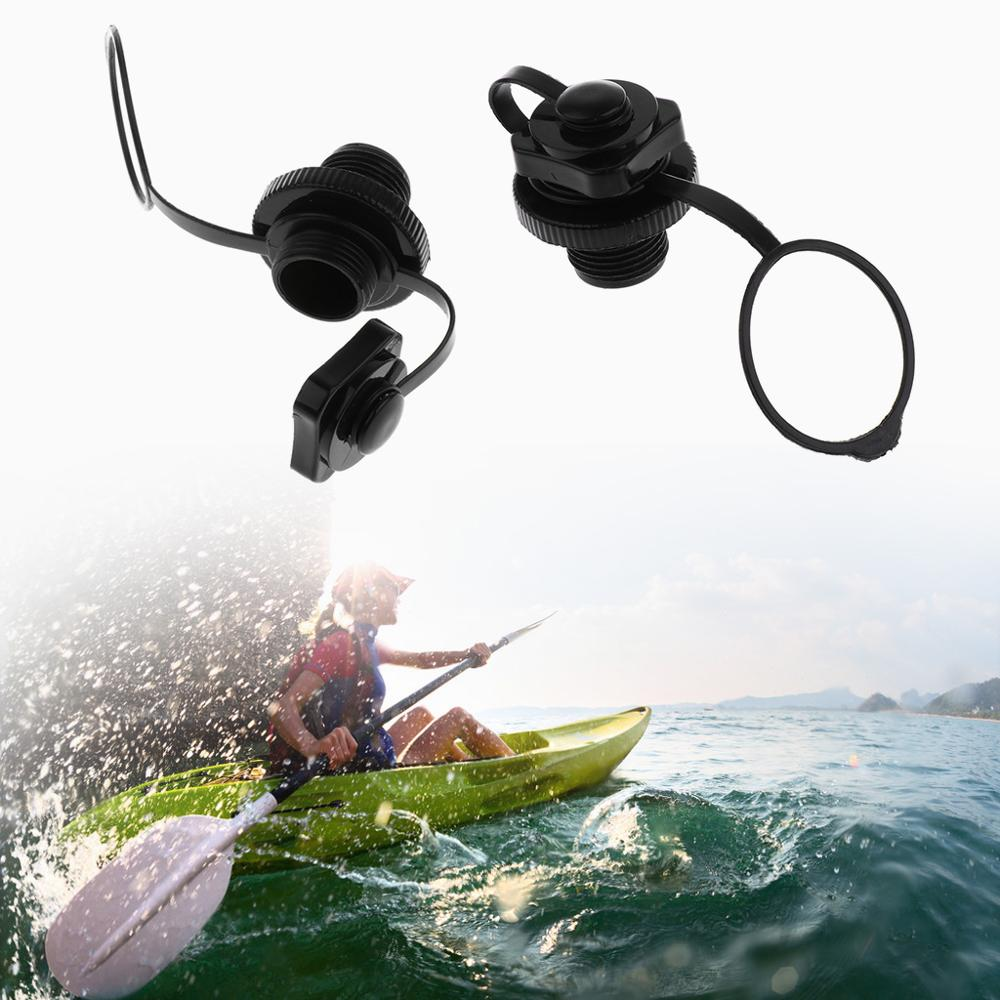 2pcs Air Valve Caps Inflate Deflate Airlock Spiral Air Plugs Replacement Screw For Inflatable Boat Kayak Canoe Raft Airbed Black