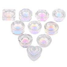 1 pièces arc-en-ciel cristal clair acrylique liquide plat Tappen plat verre tasse avec couvercle bol pour acrylique poudre monomère Nail Art Tool