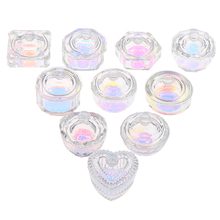 1Pcs Rainbow Crystal Clear Acrylic Liquid Dish Tappen Dish Glass Cup With Lid Bowl For Acrylic Powder Monomer Nail Art Tool