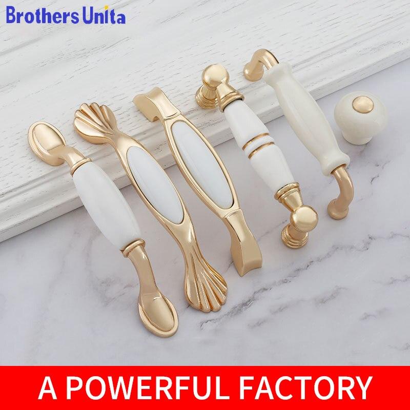Ящики в европейском стиле, шкафы, домашние шкафы, дверные ручки, фурнитура для мебели, золотые керамические ручки