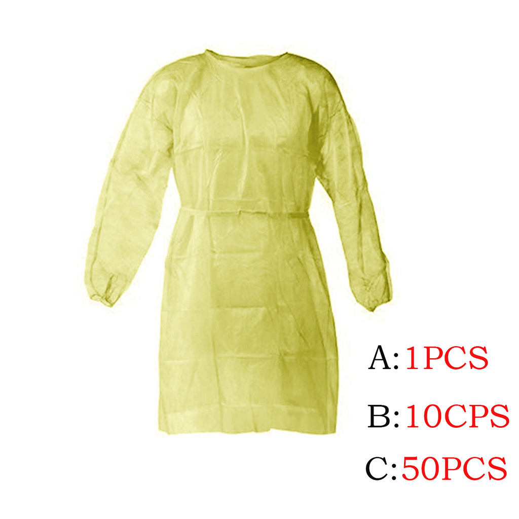 1/10/50pcs Disposable Protective Isolation Clothing Anti-spitting Waterproof Anti-oil Stain Nursing Gown Antibacterial Suit #R20