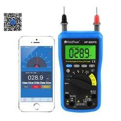 Мобильное приложение Авто Диапазон мультиметр истинный rms AC DC напряжение тока резисторы частоты задний светильник, HoldPeak HP-90EPD
