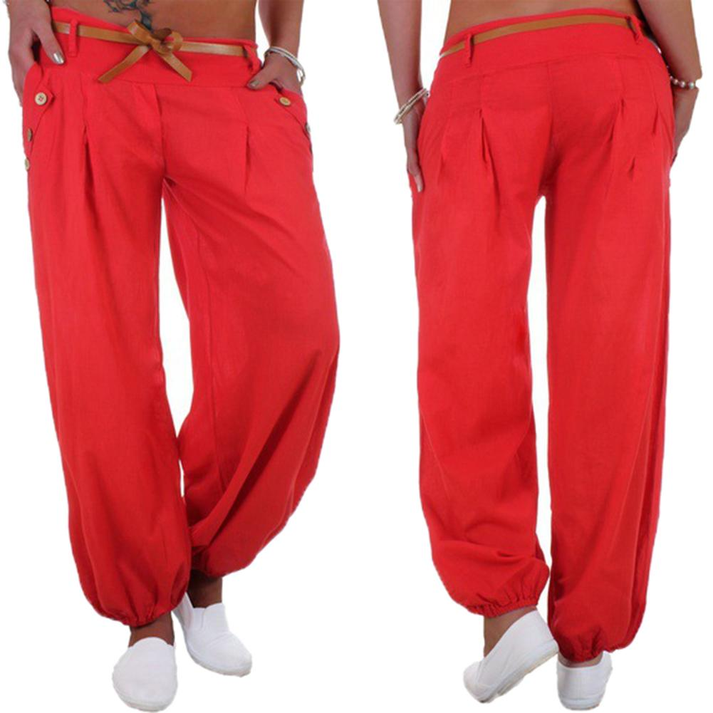Fashion Lady Casual Solid Color Button Harem Pants Trousers With Waistband Solid Color Button Harem Pants Trousers