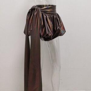 Image 5 - Женские штаны фонарики JillPeri, повседневные шорты кофейного цвета металлик, вечерние короткие брюки для отпуска и клуба