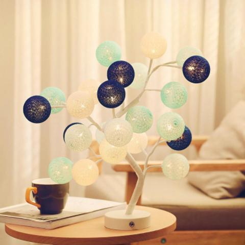 bola de algodao criativo lampada arvore
