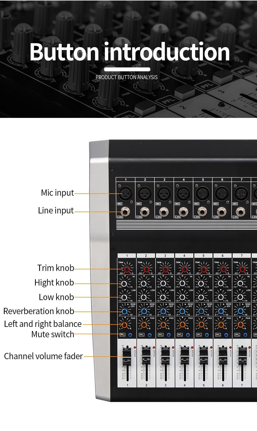 bluetooth 250w * 2 amplificador dj mixer 48v