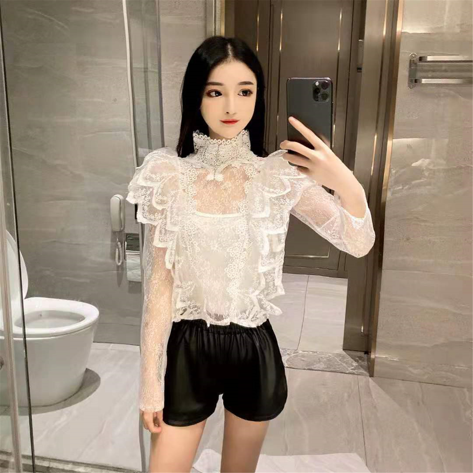 Lace Shirt Women Hollow Transparent Short Stand-Collar Sexy Shirt Ladies White Blouse 2020 Spring Tops Women's Tops Blusas Mujer